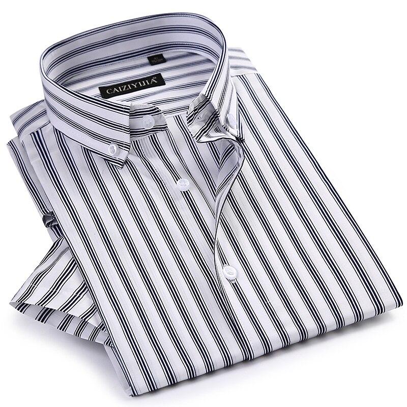 Hemden Herrenbekleidung & Zubehör Männer Kurzarm Gestreiften Kleid Shirts Getragen-in Komfortable Atmungsaktive Baumwolle Sommer Leichte Regelmäßige Fit Taste-unten Hemd Direktverkaufspreis