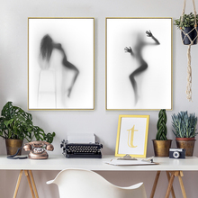 Nordic Style Sexy Silhouette of a Dancing Nude Woman Behind Curtain Canvas Posters and Prints Wall Art Picture for Living Room