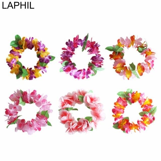LAPHIL 12 шт. Leis повязка на голову Гавайская гирлянда Цветы Свадебные украшения Luau декорации в стиле Гавайской вечеринки букет искусственных цветов