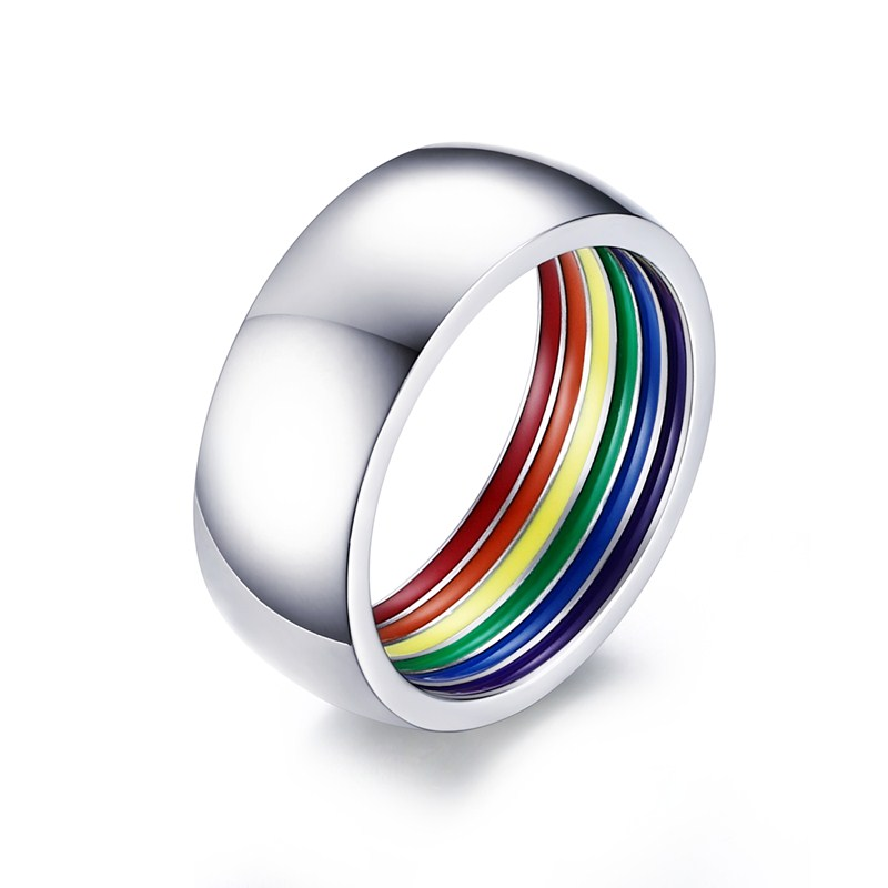 1PC Stainless Steel Ring Colorful Rainbow Inside LGBT Statement Jewelry Nice Present for Gay Lesbian Friend Family rings for men image