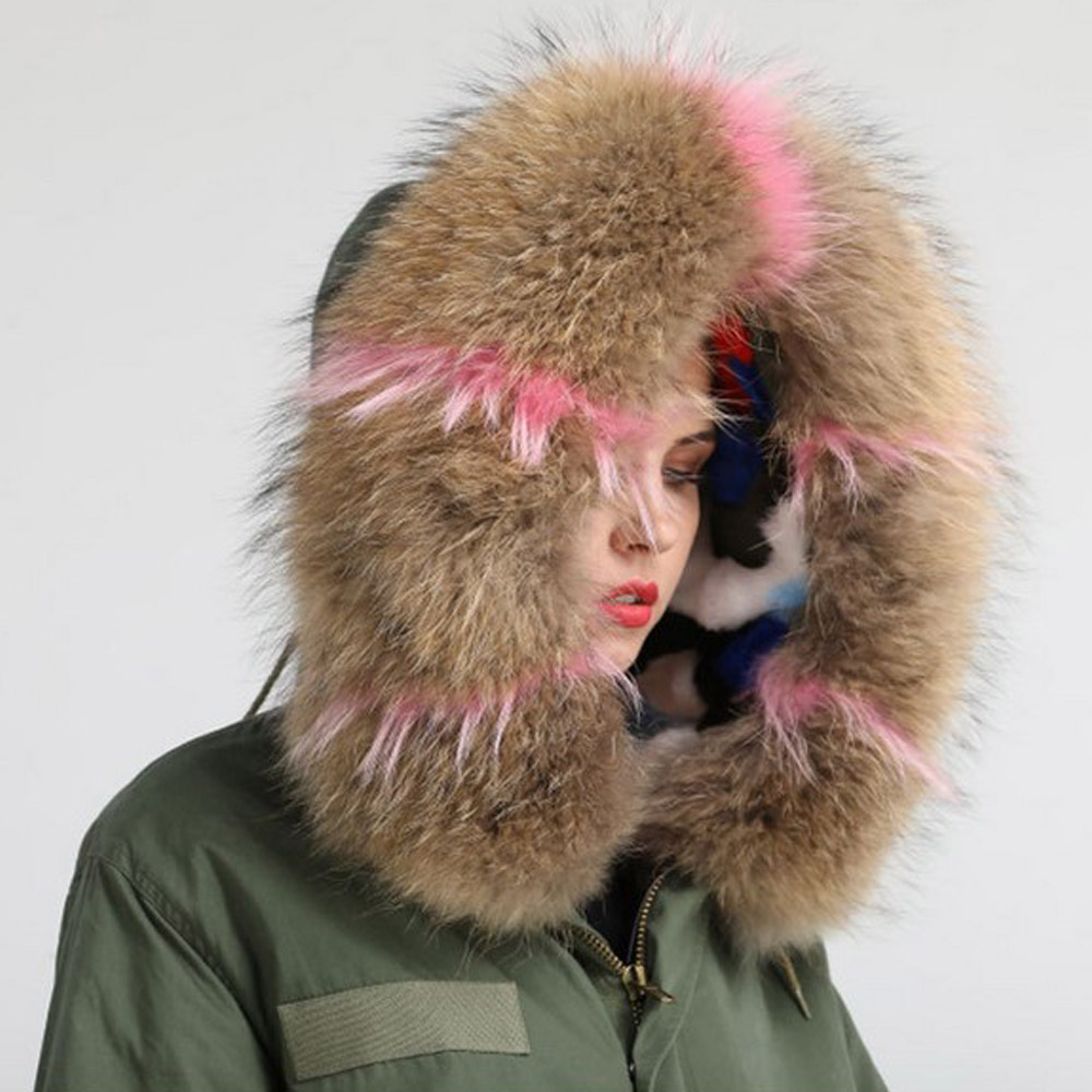 Women Winter Coats Jackets Fashion Parka Real Raccoon Large Fur Collar Cotton Jacket Long Sleeve Hooded Thicken Coat Outwear New 2017 winter new clothes to overcome the coat of women in the long reed rabbit hair fur fur coat fox raccoon fur collar