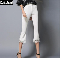 2017 Women Newest White Color Lace Stitching Calf Length Pants Trousers Fashion Mid Waist Slim Flare