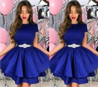 Royal Blue2019 A Line Cocktail Dresses Jewel Neck Beads Sashes Pleats Tiered Satin Party Dresses Robes de cocktail abiti da cock