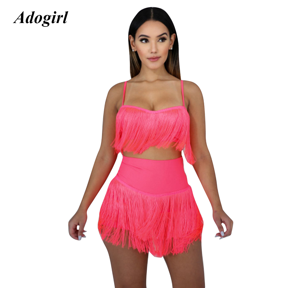 Adogirl Sexy Sleeveless Solid Tassel Two Piece Set Casual O Neck Crop Top With Mini Skirt Set Night Club Party Skinny Women Suit