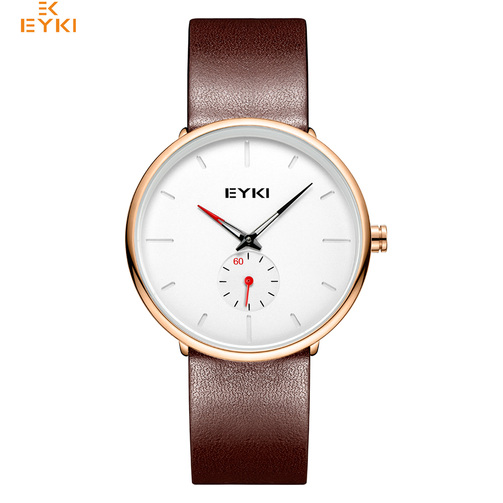 EYKI Brand Simple Men Genuine Leather Quartz Watches Lover's Woman Big Dial Sport Wrist Watch цена