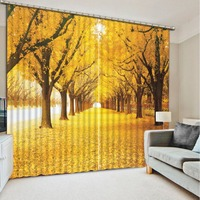 yellow curtains Nature personality style alley photo print 3d curtain Mediterranean Garden Door curtain
