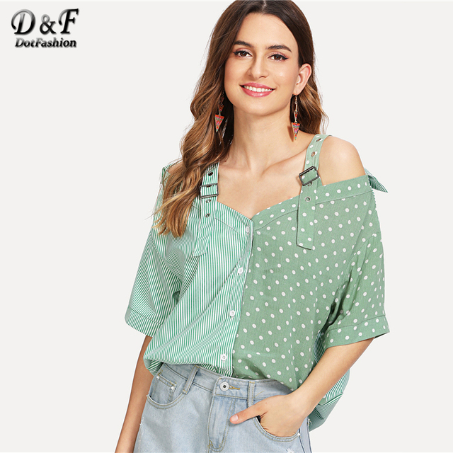 Dotfashion Open Shoulder Contrast Panel Cotton Shirt Women Casual Summer  Straps Half Sleeve Tops Ladies Striped Polka Dot Blouse a41101ddf