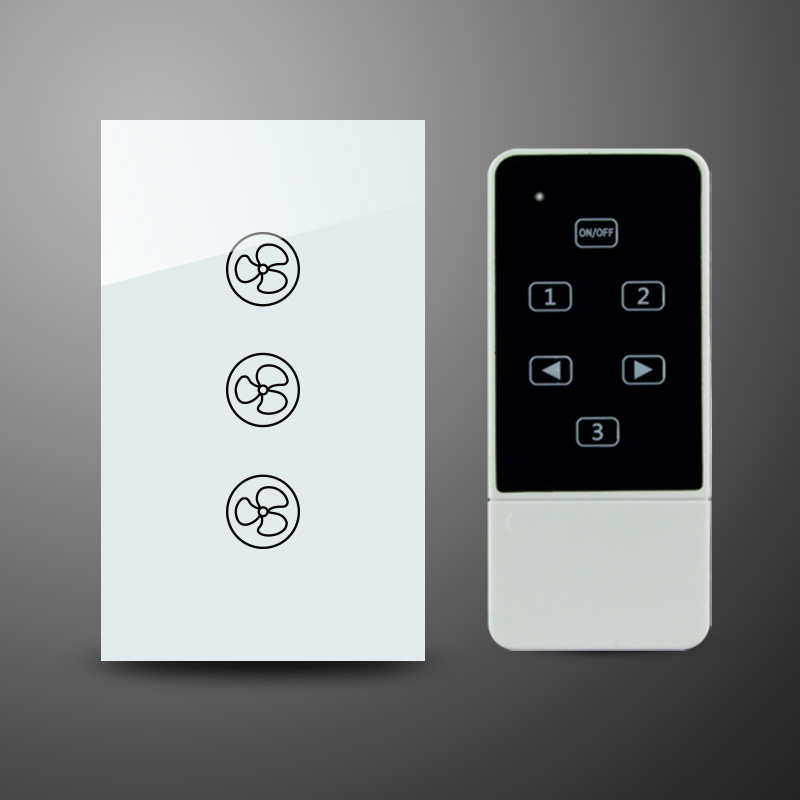US AU Standard RF Wireless Remote Control Tempered Glass Panel Touch Fan Speed Wall Switch black color 2gang touch light switch with wireless remote control rf 433mhz glass panel smart wall touch switch uk type