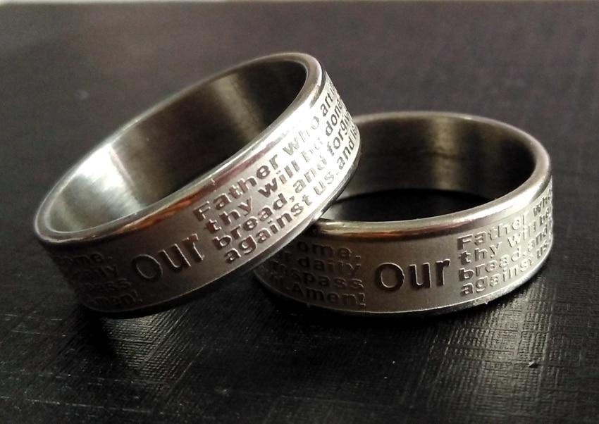"""100 шт. травления английский Бога молитвенные библейские Нержавеющая сталь кольца """"Отче наш. Amen» ювелирные изделия религиозной тематики без перекрестной"""