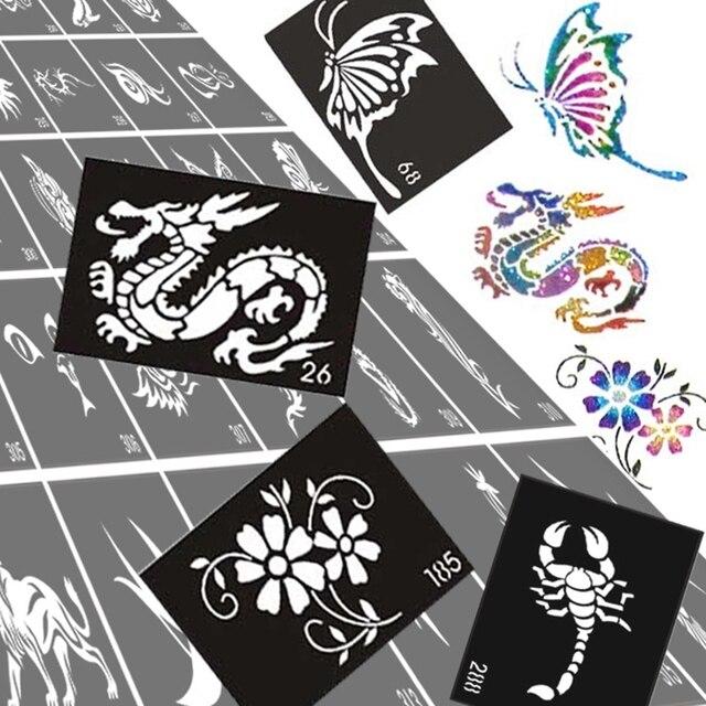 50pcs Glitter Tattoo Stencil Drawing For Painting, Airbrush Tattoo Stencils For Tattoos Temporary Henna Templates Stickers