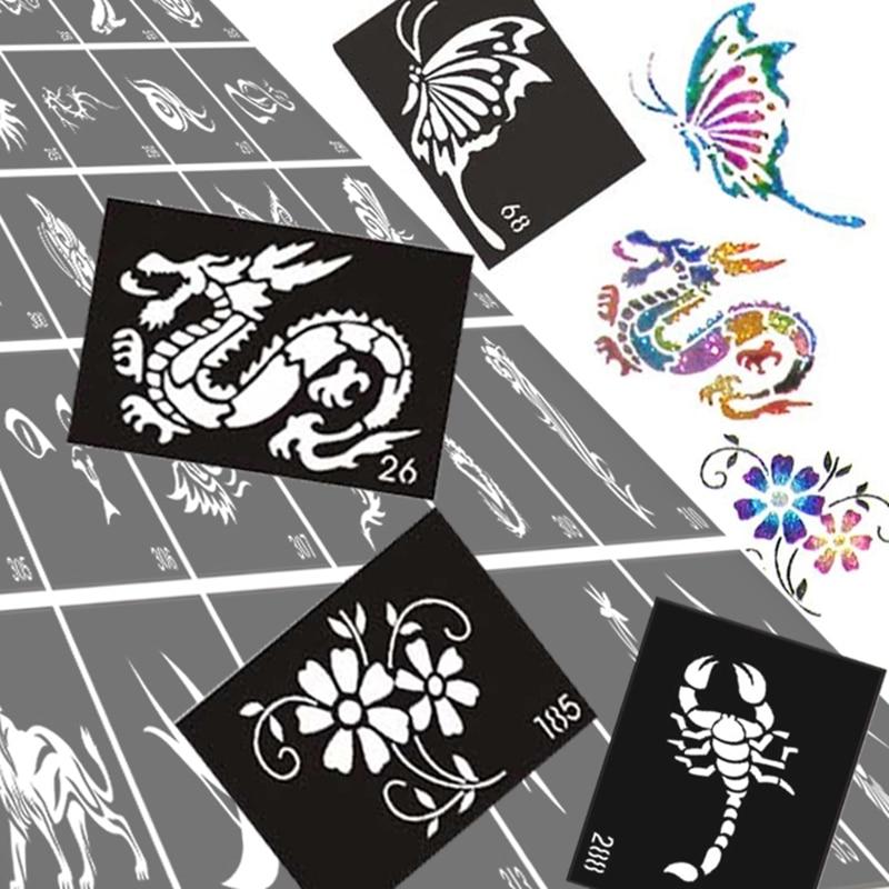 US $16 63 6% OFF|50pcs Glitter Tattoo Stencil Drawing For Painting,  Airbrush Tattoo Stencils For Tattoos Temporary Henna Templates Stickers-in  Tattoo