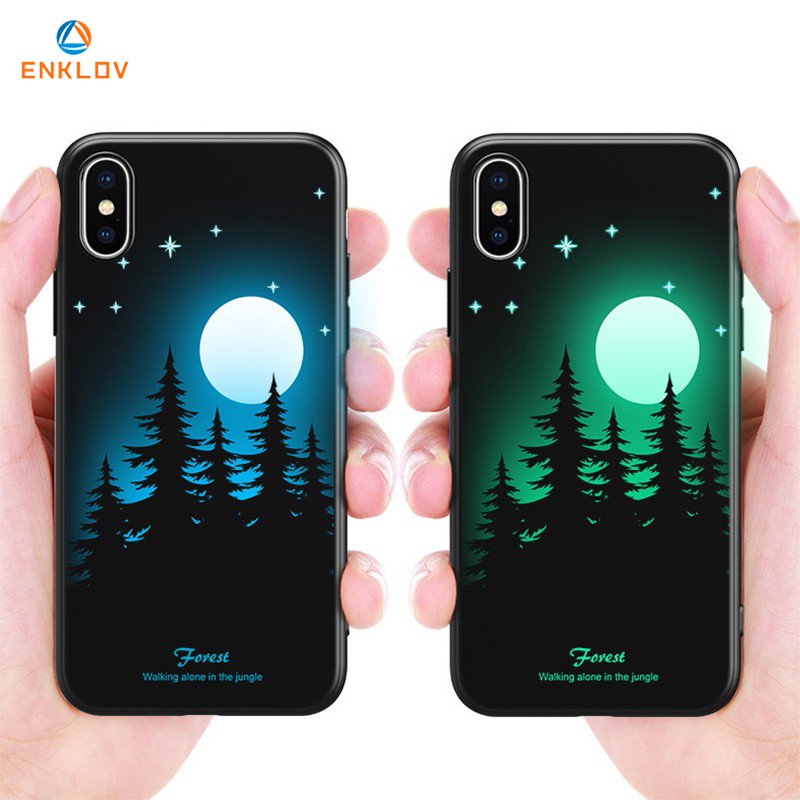 ENKLOV Luminous Matte Phone Case For iPhone 6 7 8 Plus X XS MAX XR High Quality Soft Silicone Back Cover Cases TPU