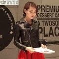 Fábrica 2016 Nuevo Cuero Genuino de la Zalea de Las Mujeres Dama de La Moda Chaqueta de La Motocicleta Bomber Biker Abrigos de Invierno