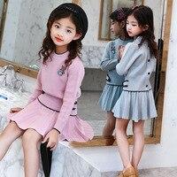 Kids Girls Knit Skirt Sets Fall 2019 Teenage Girls Long Sleeve Sweater Top & Tutu Skirt 2 Pcs Clothing Sets Kids Knitwear Set