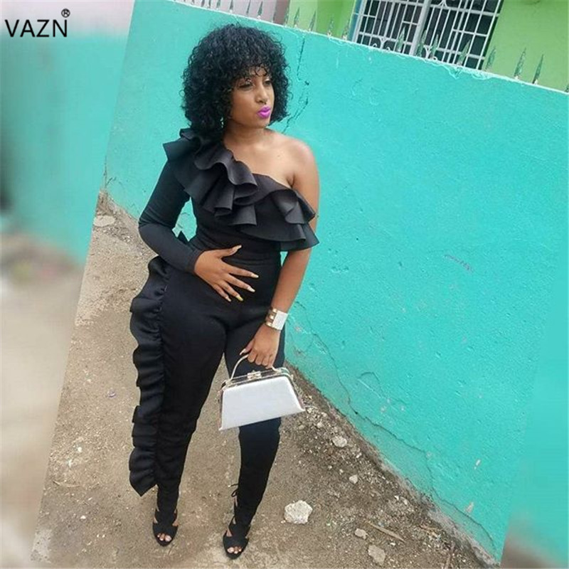 VAZN Autumn Hot Sale Sexy Exotic Designer 2018 Women   Jumpsuits   Solid Full Sleeve Hollow Out One Off Shoulder Lady Romper MER154