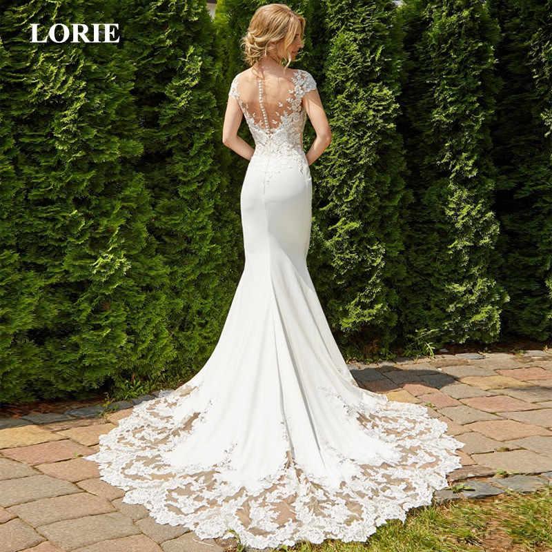 LORIE 2019 Mermaid Wedding Dress Sexy Backless O-Neck Mangas Lace Stain Vestido de Casamento Vestidos de Noiva Branco Marfim Vestido