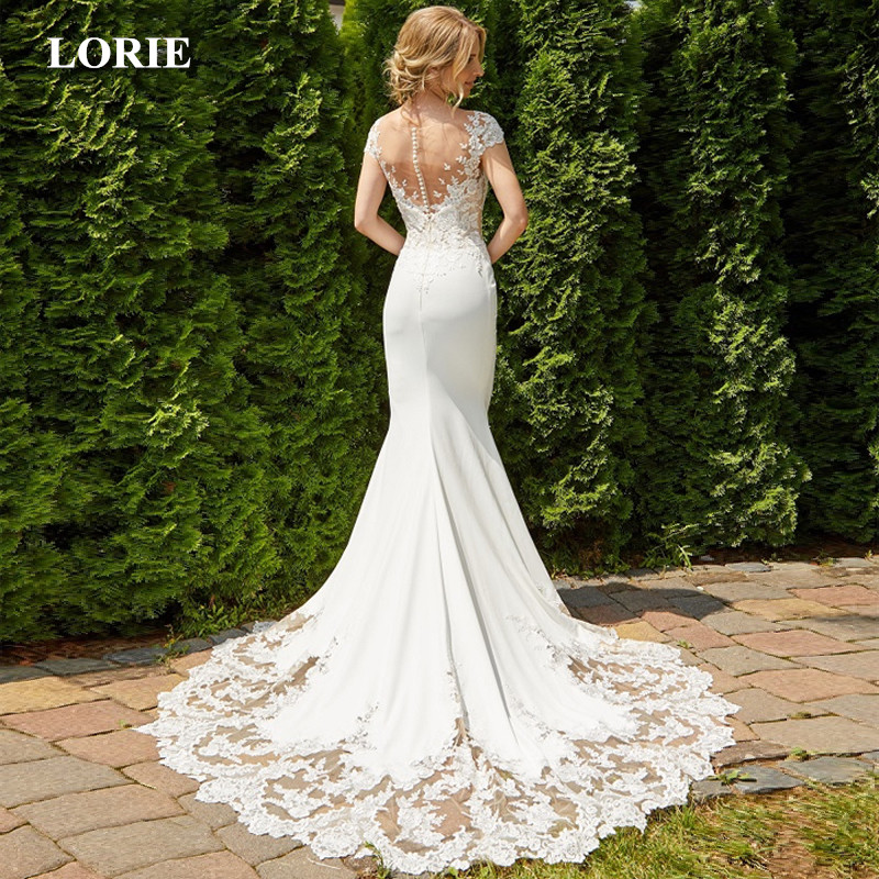 LORIE 2019 Mermaid  Wedding Dress Sexy Backless O Neck Sleeveless Lace Stain Wedding Gown Bridal Gowns White Ivory Dress-in Wedding Dresses from Weddings & Events    1
