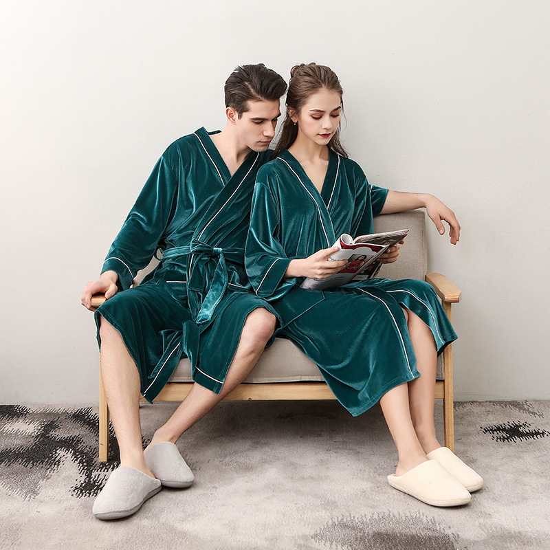 Autumn Winter New Women Velvet Robe Gown Quality Velour Kimono Kaftan Lovers Couple Sleepwear Nightgown Men Sleepwear Bathrobe