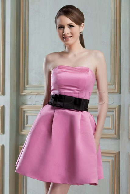 4fdf96ab6f43 Simple short bridesmaid dresses pink peach strapless satin wedding party  gowns zipper mini skirt with sash