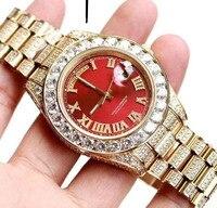 Роскошные брендовые Новые мужские повседневные красные циферблат в римском стиле желтые золотые большие бриллианты Безель автоматические