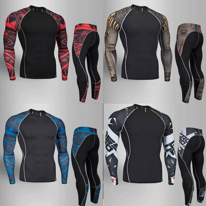 2018 Brand Thermal Underwear Men underwear sets compression sport fleece sweat thermo underwear men Fitness clothing