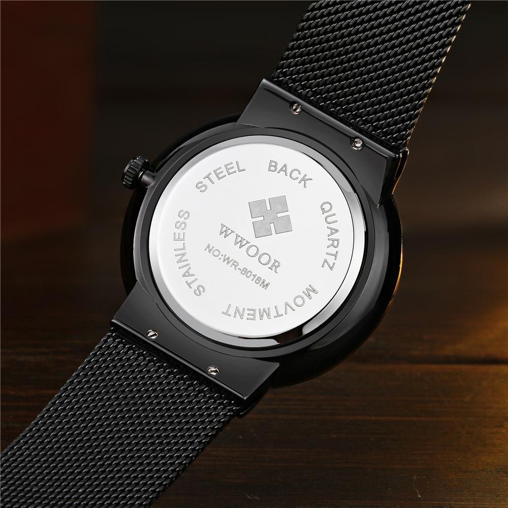 WWOOR Horloge Heren Modemerk Herenhorloges Quartz Ultra Dunne stalen - Herenhorloges - Foto 4