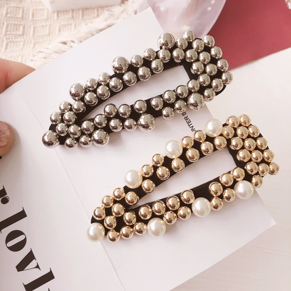 Korea Handmade Solid Bowknot Simulated pearl Barrettes Hairpins Hair clips for Women Head wear Accessories-SWAWHRP046C5