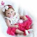 UCanaan50-56cm Bebês Reborn Completo Silicone Renascer Baby Dolls boneca com o Blue & Brown Olhos Os Melhores Brinquedos para As Crianças meninas de Presente