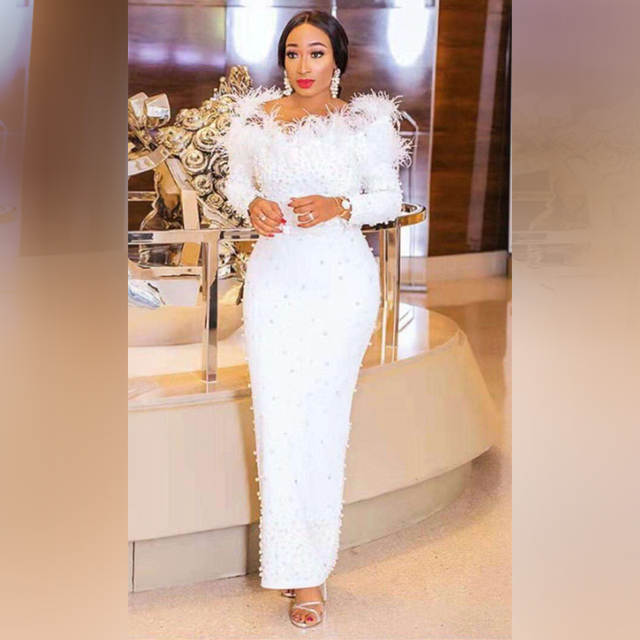 8a7a924c38f5f US $54.79  Elegant White Beading Maxi Wedding Party Dress Women Off  Shoulder Long Sleeve Bodycobn Feathers Bodycon Dress Vestidos Wholesale-in  Dresses ...