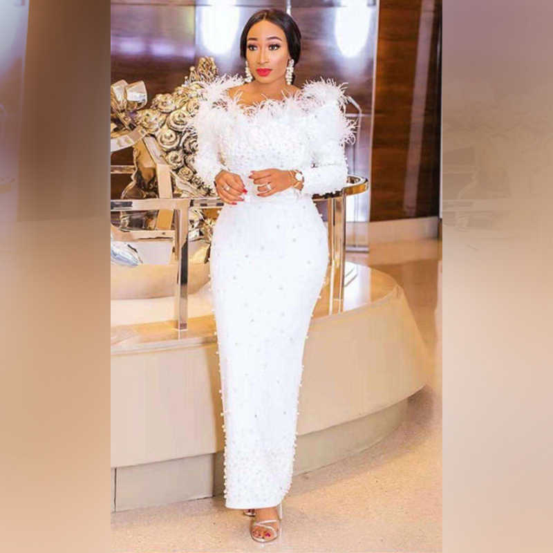 637859f4ed Elegant White Beading Maxi Wedding Party Dress Women Off Shoulder Long  Sleeve Bodycobn Feathers Bodycon Dress