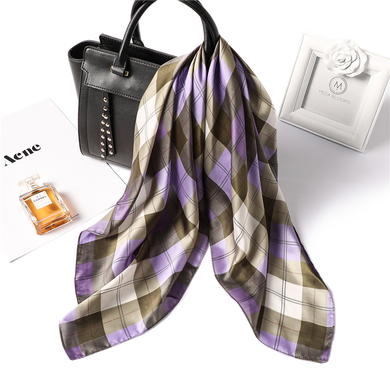 2019 new summer designer brand women scarf fashion plaid print silk scarves square small size hair neck bandana shawls foulard in Women 39 s Scarves from Apparel Accessories