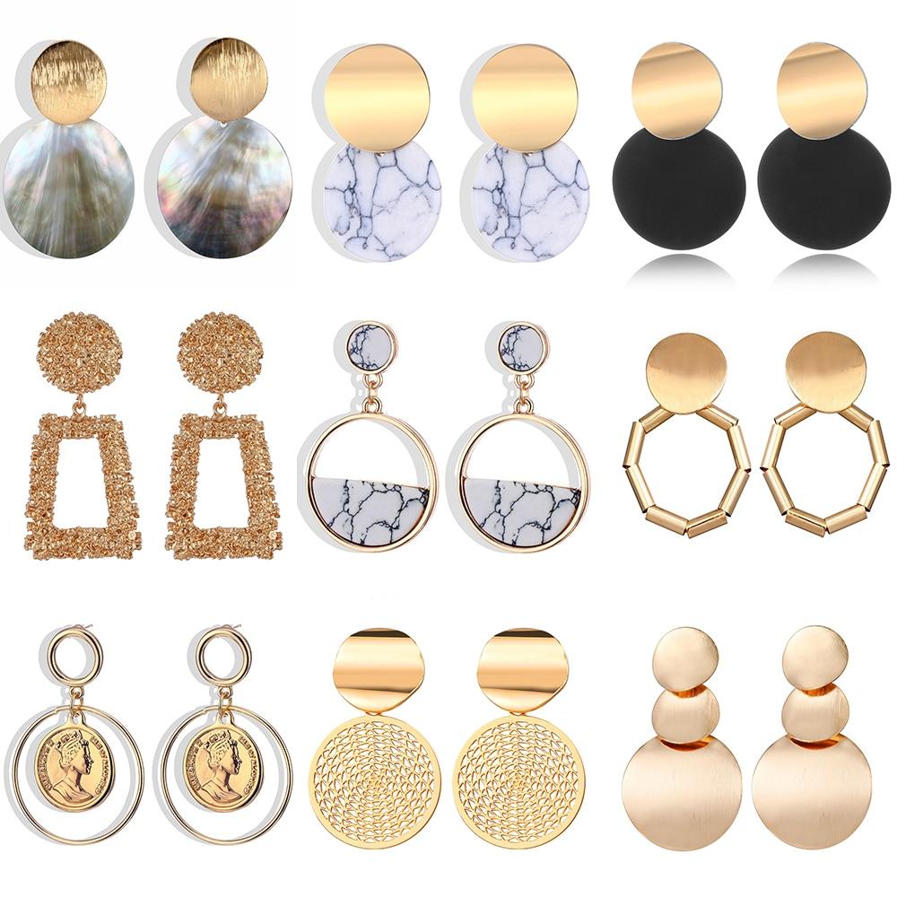 European Design earrings female models round heart pendant earrings fashion big gold geometric jewelry wholesale