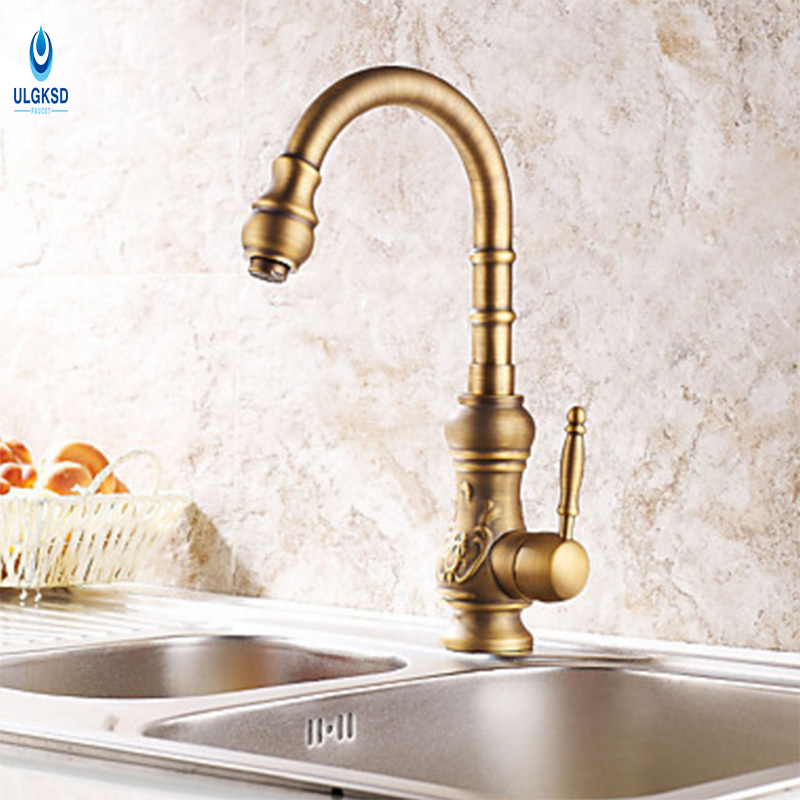 ULGKSD 360 Degree Rotaty Kitchen Faucet Antique Brass Deck Mounted Single Handle Bathroom Faucet Hot and Cold Water Mixer Taps jomoo deck mounted brass basin faucet water outlet hole 360 degree rotate water tap single handle single hole hot and cold mixer