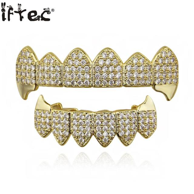 iftec Shining Hip Hop GRILLZ Iced Out CZ Fang Mouth Teeth Grillz Caps Top    Bottom Grill Set Men Women Vampire Grills c8b917314