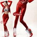 2014 New fashion Women high waist  jazz wear Sexy ds costume solid female slim dance skinny Basic Leggings