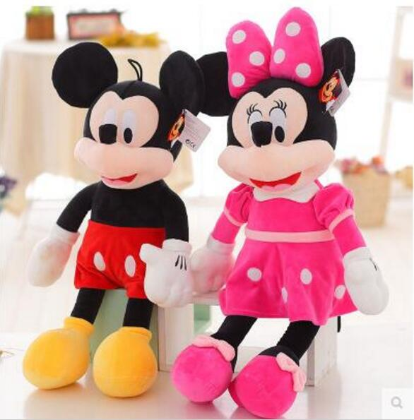 Hot Sale 2pcs/lot 40cm High Quality Mickey Or Minnie Mouse Plush Toy Doll For Birthday Christmas Gifts