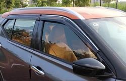 4 sztuk Car Styling drzwi okno wiatr Visor odlewnictwo markizy tarcza deszcz słońce osłona przeciwwiatrowa Vent cień dla Nissan Kicks 2017 w Chromowane wykończenia od Samochody i motocykle na