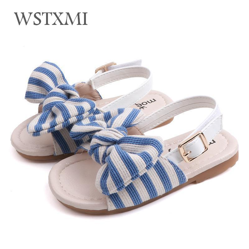 New Summer Girls Sandals For Kids Toddler Beach Shoes Children Casual Open Toe Flat Soft Anti-slip Baby Princess Leather Slipper