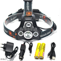 9000LM 3X XM-L T6 LED Headlamp Fishing Head Light Waterproof Flashlight High Power LED Headlamp For 2* 18650 Battery+Car Charger