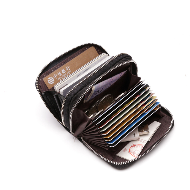 Trend Women&Mens Unisex Genuine Leather Wallet Multi-card Slot Casual Credit Card ID Holder Money Coin Holder Zipper Purse K858
