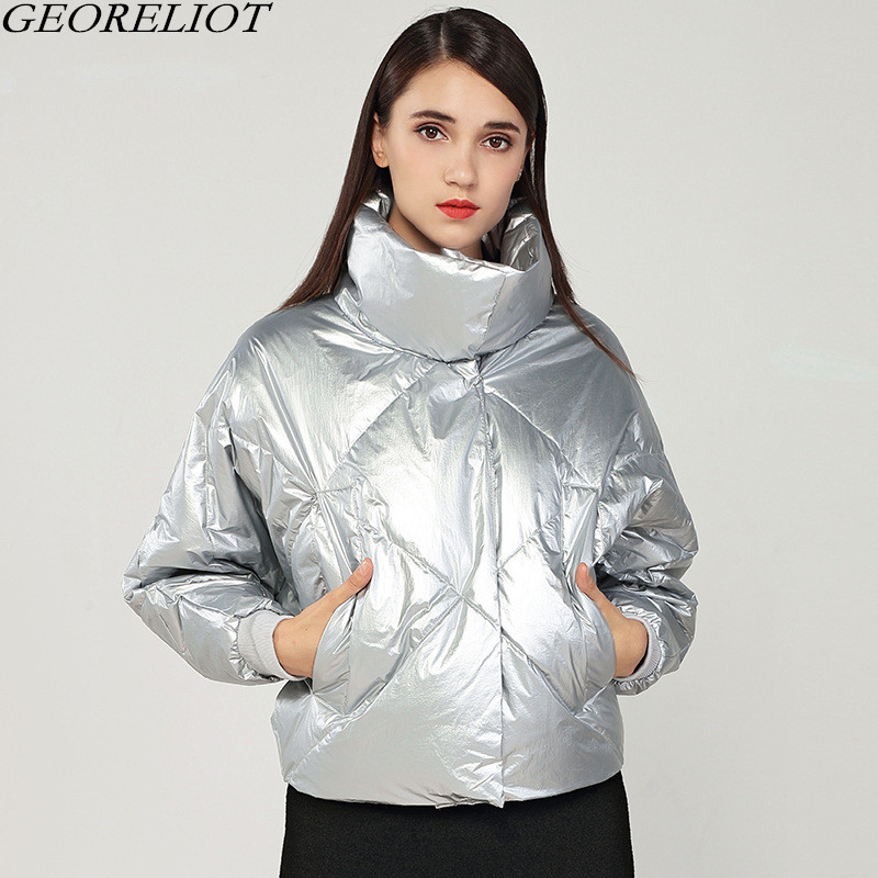 D'hiver Épais Mujer Court Manches 2018 À Parka Manteau Outwear Col Mode Noir Georeliot Nouvelle Chaqueta Roulé argent Femmes Chaud Longues TzwxqOETX
