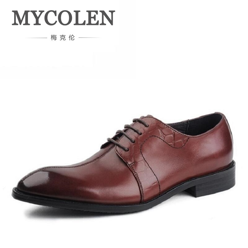 MYCOLEN Famous Luxury Pointed Toe Wine Red / Black Derby Shoes Mens Dress Shoes Leather Wedding Shoes Mens Business Shoes mycolen mens shoes round toe dress glossy wedding shoes patent leather luxury brand oxfords shoes black business footwear
