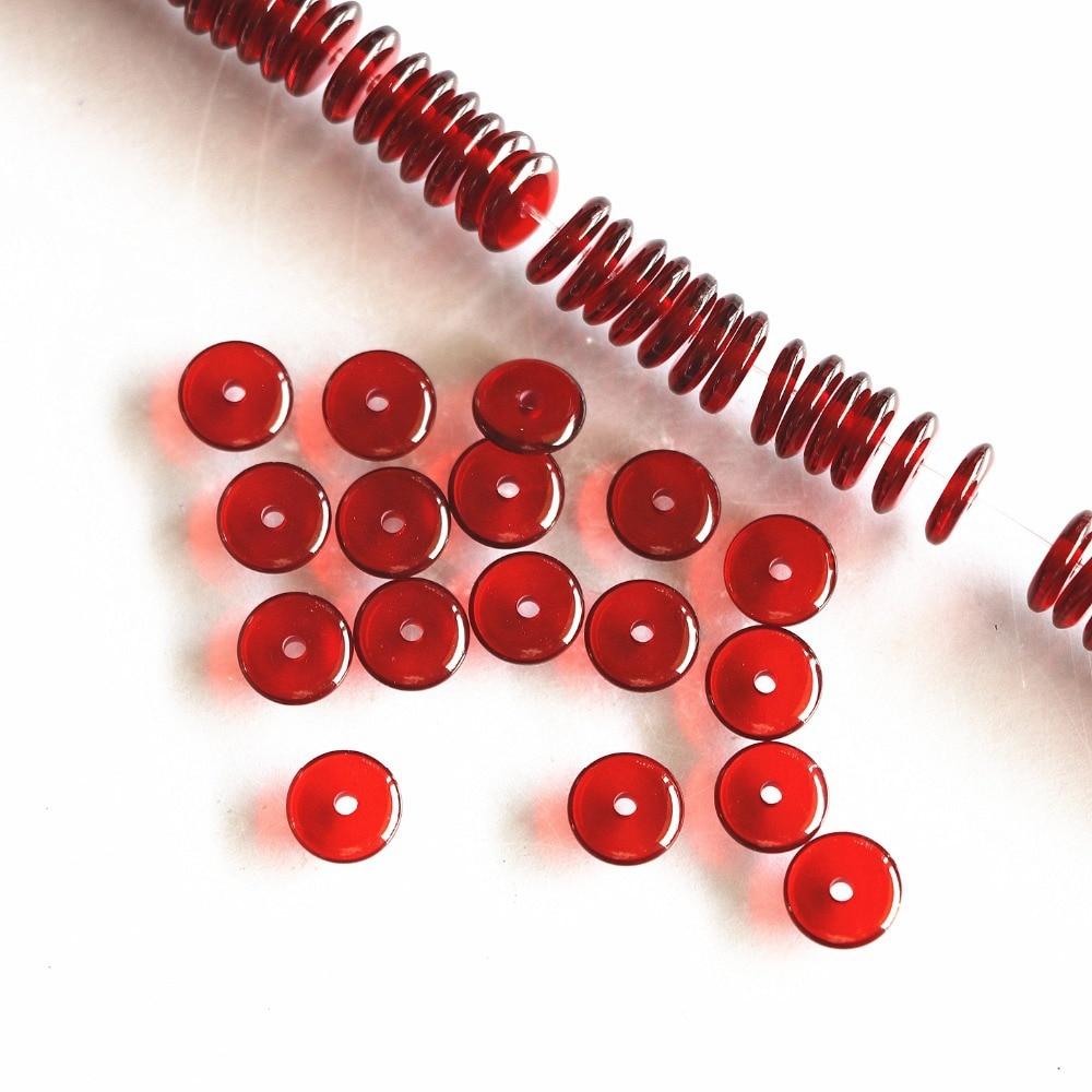 Dijes de cera de abejas de resina roja oscura nueva llegada 6X2mm 8X2mm abacus botón rondelle espaciador cuentas cuentas sueltas de joyería 15 pulgadas B98