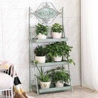 Household wrought iron multi layer indoor living room green radish meat flower pot shelf flower shelf rack LM01251119