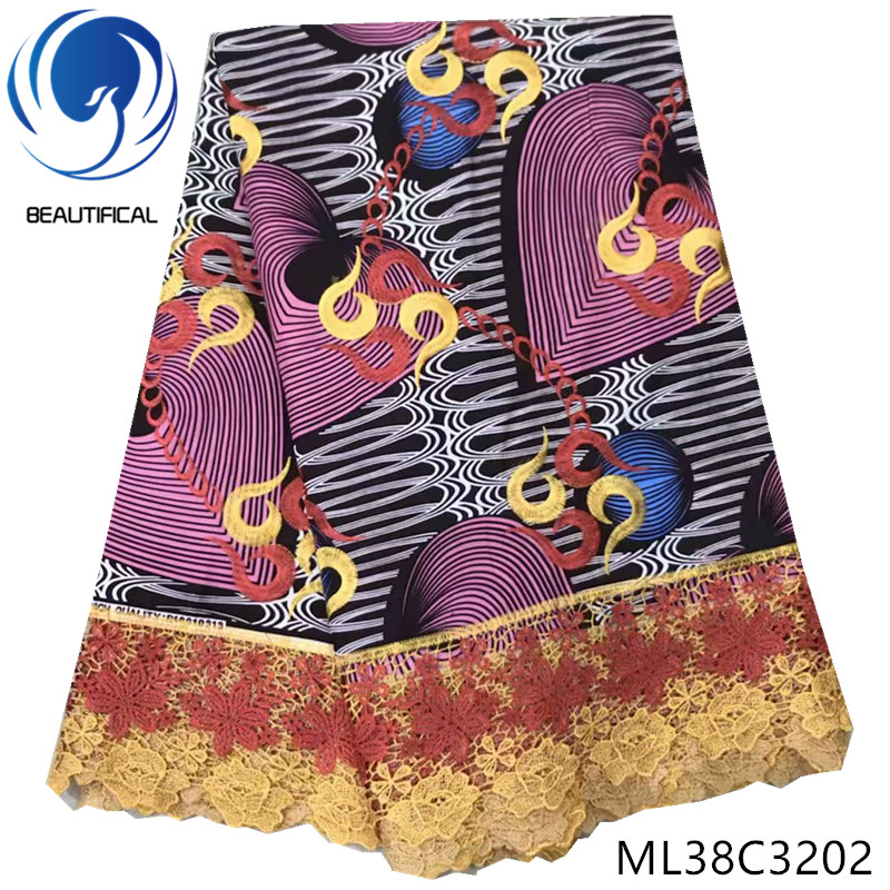 BEAUTIFICAL african cotton fabrics Latest style printing wax with cord lace for dresses 6yards nigerian real wax fabric ML38C32BEAUTIFICAL african cotton fabrics Latest style printing wax with cord lace for dresses 6yards nigerian real wax fabric ML38C32