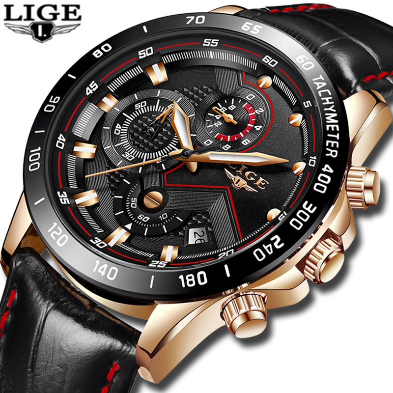 все цены на Relojes Hombre 2018 New LIGE Mens Watches Top Luxury Brand Fashion Gold Quartz Watch Men Leather Military Sport Waterproof Clock