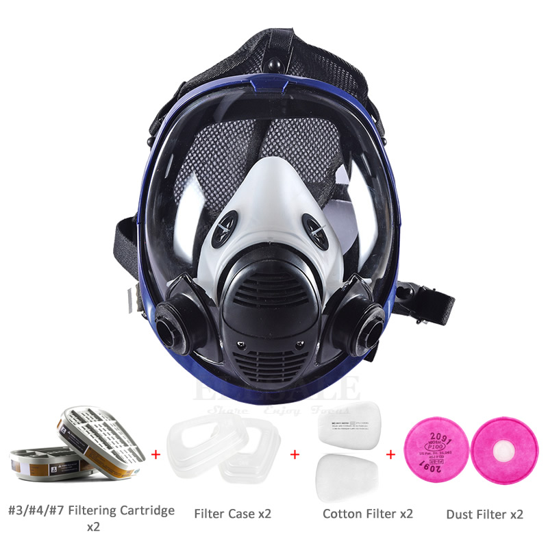 NEW Industrial 9-In-1 6800 Full Face Dust Gas Mask Respirator With Filtering Cartridge For Painting Spraying Work Safety 9 in 1 suit gas mask half face respirator painting spraying for 3 m 7502 n95 6001cn dust gas mask respirator