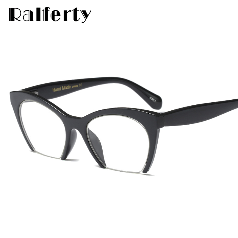 3bbab51a8dc Detail Feedback Questions about Ralferty 2018 Vintage Half Frame Eyeglasses  Cat Eye Glasses Frame For Women Black Clear Optical Glasses Spectacles  gozluk ...
