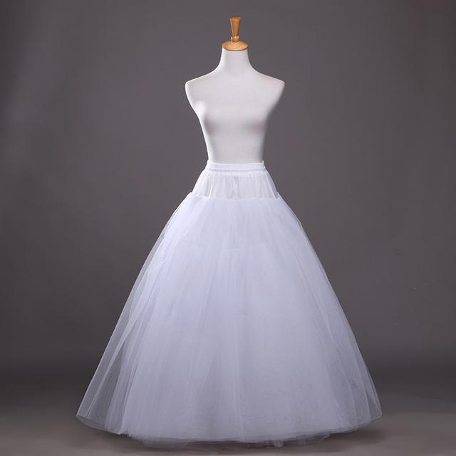 La boda de La Enagua 4 capas Vestido Longo Deslizamiento Enagua Nupcial De Una Línea de Falda Amplia Grande Jupon Crinolina Enaguas Del Vestido