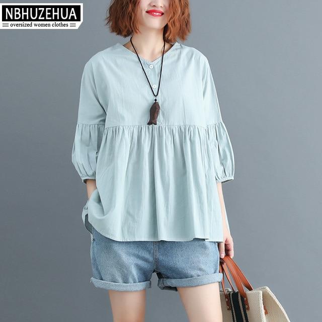 2f0531fdd5a41 NBHUZEHUA A358 Women Summer Blouse Shirts Plus Size V Neck Female Lady Top  Big Size Loose